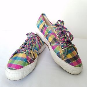 Superga Lace Up Sneakers Silk Multi Check Gingham